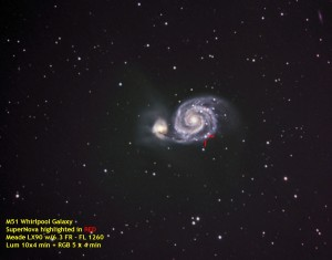 Galaxy Messier 51 with Supernova SN 2011dh by Kevin Boucher