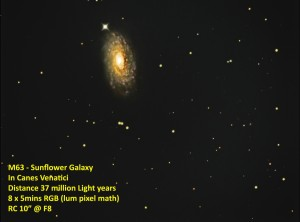 Galaxy Messier 63 - Sunflower-Galaxy by Kevin Boucher