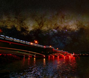 White City Bridge and Milky Way composite image by Ken Cleveland